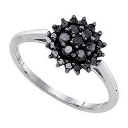 10K White-gold 0.49CTW-BLACK DIAMOND RING