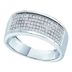 10KT White Gold 0.30CTW DIAMOND MICRO PAVE MENS BAND