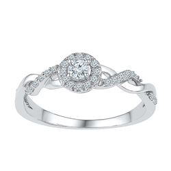 10K White Gold Womens Cluster Infinity Knot Real Diamon
