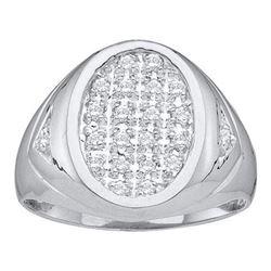 14KT White Gold 0.25CTW DIAMOND MEN'S CLUSTER RING