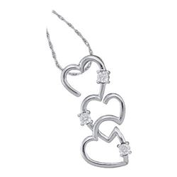 10KT White Gold 0.03CTW DIAMOND LADIES HEART PENDANT