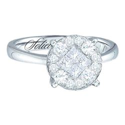 14KT White Gold 0.25CTW DIAMOND SOLIEL BRIDAL RING