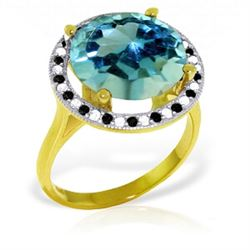 18k Solid Gold Ring w/ Natural Black / White Diamonds &