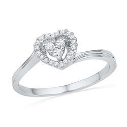 10KT White Gold 0.16CTW DIAMOND HEART RING