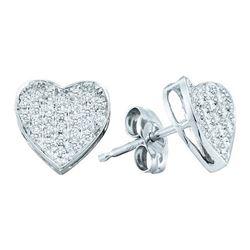 10KT White Gold 0.25CTW ROUND DIAMOND MICRO PAVE HEART