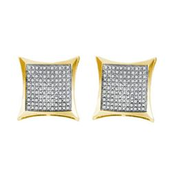 925 Sterling Silver Yellow 0.35CTW DIAMOND MICRO PAVE E