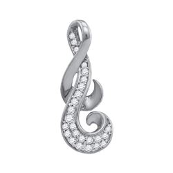 10kt White Gold Womens Round Diamond Cluster Curled Pen