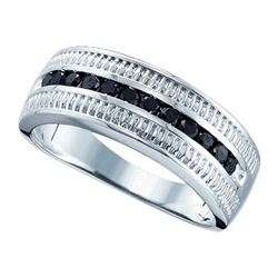 925 Sterling Silver White 0.51CTW BLACK DIAMOND FASHION