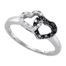 925 Sterling Silver White 0.17CTW DIAMOND HEART RING