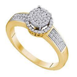 10KT Yellow Gold 0.25CTW DIAMOND MICRO PAVE RING
