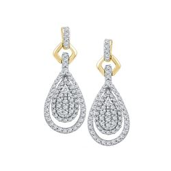10kt Yellow Gold Womens Round Diamond Teardrop Cluster