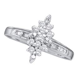 925 Sterling Silver White 0.10CTW DIAMOND CLUSTER RING