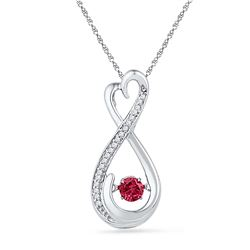 10kt White Gold Womens Round Lab-Created Ruby Moving Tw