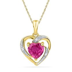 10kt Yellow Gold Womens Round Lab-Created Ruby Heart Lo