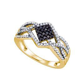 10K Yellow-gold 0.38CTW BLACK DIAMOND FASHION RING