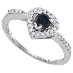 10KT White Gold 0.50CTW BLACK DIAMOND FASHION RING