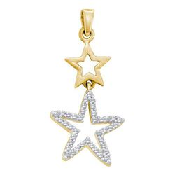 10KT Yellow Gold 0.11CTW-DIAMOND STAR PENDANT