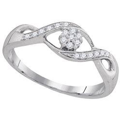 10KT White Gold 0.13CTW DIAMOND FLOWER RING