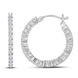 10kt White Gold Womens Round Diamond Single Row Hoop Ea