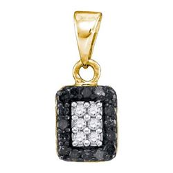 14K Yellow-gold 0.20CTW BLACK DIAMOND MICRO-PAVE PENDAN