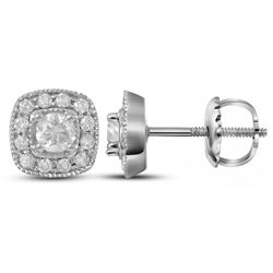14kt White Gold Womens Round Diamond Solitaire Square F