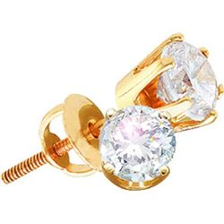 14kt Yellow Gold Womens Round Natural Diamond Solitaire