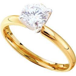 14KT Yellow Gold 0.15CTW-(SUP) DIAMOND ROUND SOLITAIRE
