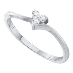 10KT White Gold 0.06CTW DIAMOND HEART BRIDAL RING