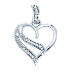 925 Sterling Silver White 0.05CTW DIAMOND HEART PENDANT