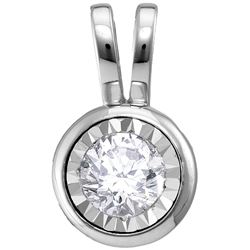 10kt White Gold Womens Round Diamond Solitaire Faceted