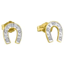 10kt Yellow Two-tone Gold Womens Round Diamond Horsesho