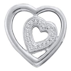 10KT White Gold 0.05CTW ROUND DIAMOND HEART PENDENT
