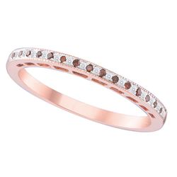 10kt Rose Gold Womens Round Red Colored Diamond Slender