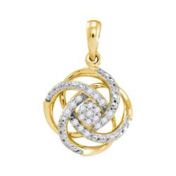 10kt Yellow Gold Womens Round Natural Diamond Cluster F