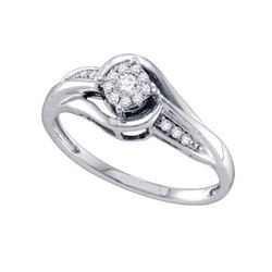 14KT White Gold 0.15CT DIAMOND LADIES FASHION RING