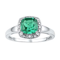 Sterling Silver Womens Cushion Lab-Created Emerald Soli