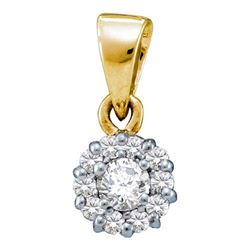 14KT Yellow Gold 0.25CTW DIAMOND FLOWER PENDANT