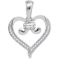 10KT White Gold 0.08CTW DIAMOND HEART PENDANT