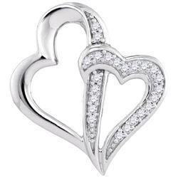 10KT White Gold 0.06CTW-Diamond HEART PENDANT