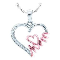 "925 Sterling Silver White 0.06CTW DIAMOND ""MOM"" PENDANT"