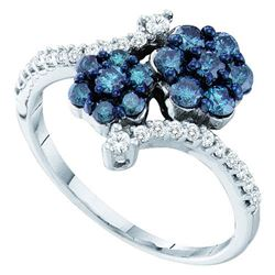 10KT White Gold 0.75CT BLUE DIAMOND FLOWER RING