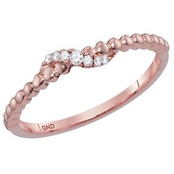 10kt Rose Gold Womens Round Diamond Crossover Stackable