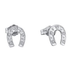 Sterling Silver Natural Diamond Accent Lucky Horseshoe