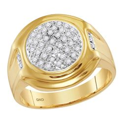 10kt Yellow Gold Mens Round Diamond Circle Cluster Fash