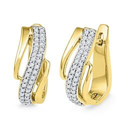 10K Yellow-gold 0.25CTW DIAMOND HOOPS EARRING