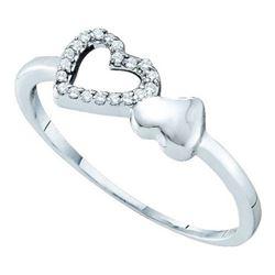 10KT White Gold 0.05CTW DIAMOND HEART RING