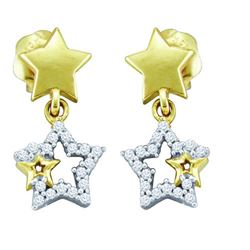 10KT Yellow Gold 0.10CTW DIAMOND STAR EARRINGS