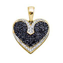 10K Yellow-gold 0.51CT BLACK DIAMOND HEART PENDANT