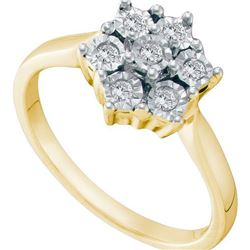 925 Sterling Silver Yellow 0.10CTW DIAMOND FLOWER RING