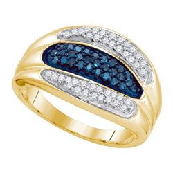 10KT Yellow Gold 0.40CTW BLUE DIAMOND MICRO-PAVE RING